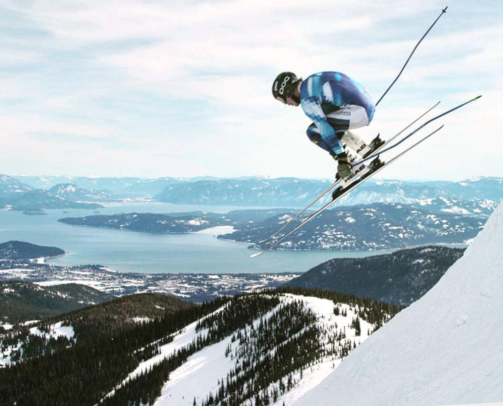 CMC Ski Team athlete Harrison Goss in mid-air