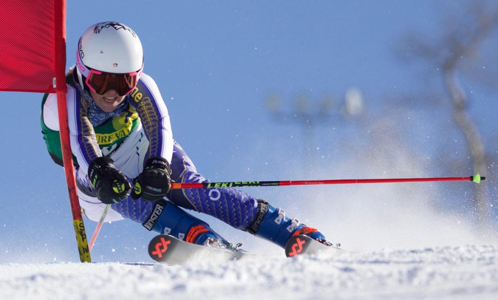 CMC Ski Team member Cheyenne Brown on a GS course.