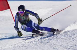 CMC Eagle Ski Team member Zach Mikkelson on course